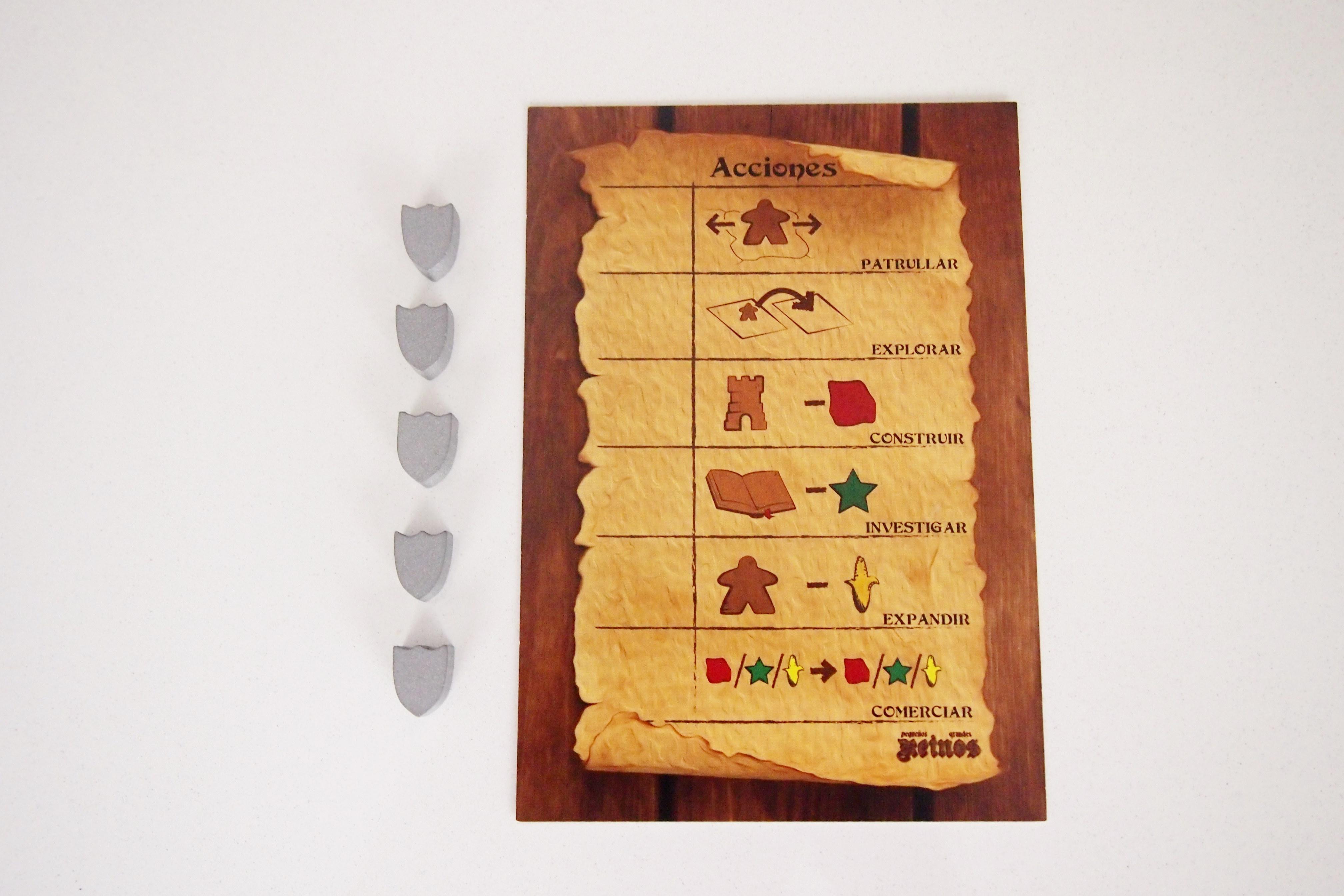 En su turno, el jugador puede escoger una de las acciones disponibles (el resto realizará la misma o recogerá recursos).