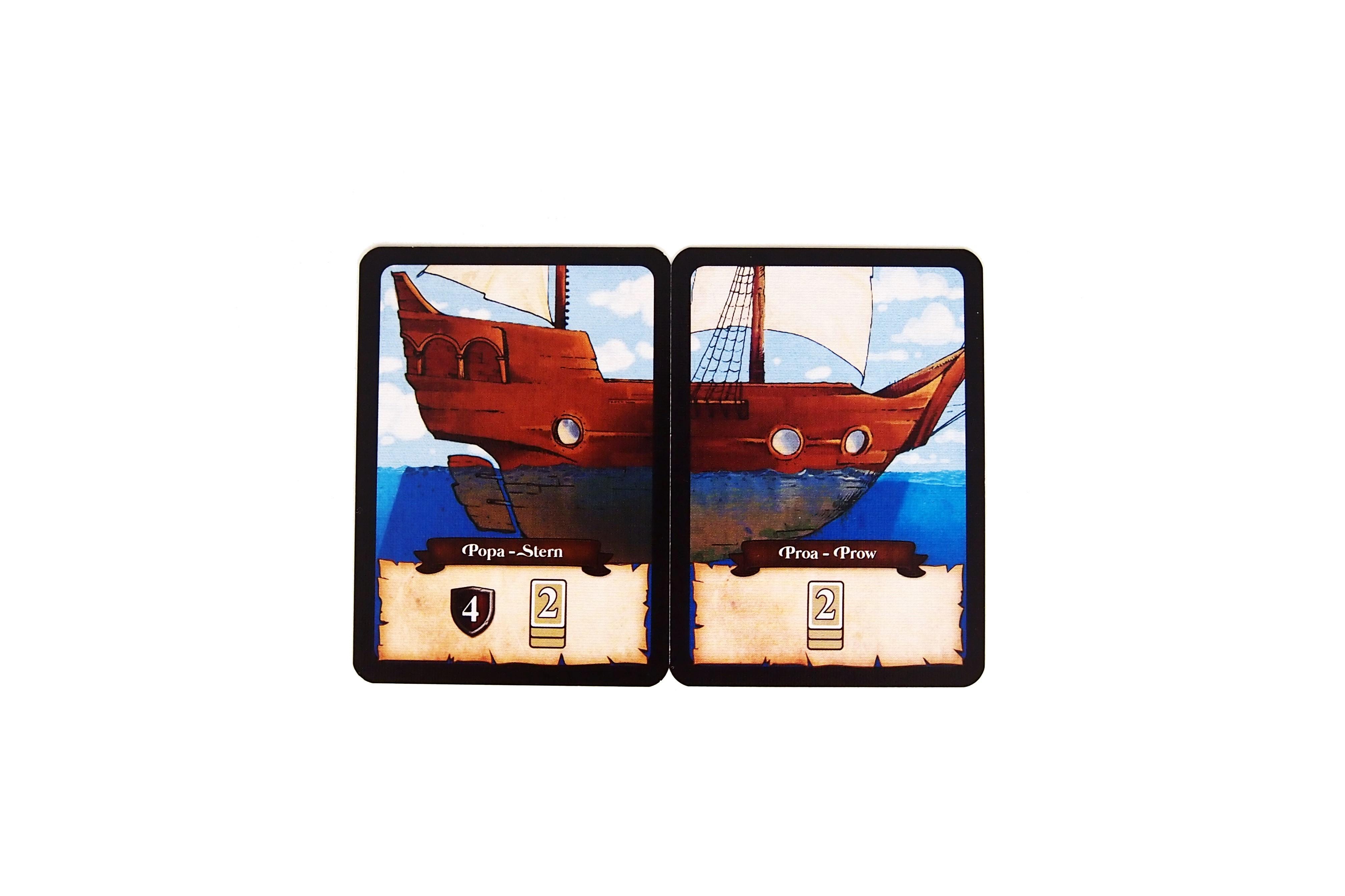 Cada jugador recibe un barco inicial, compuesto por proa y popa.