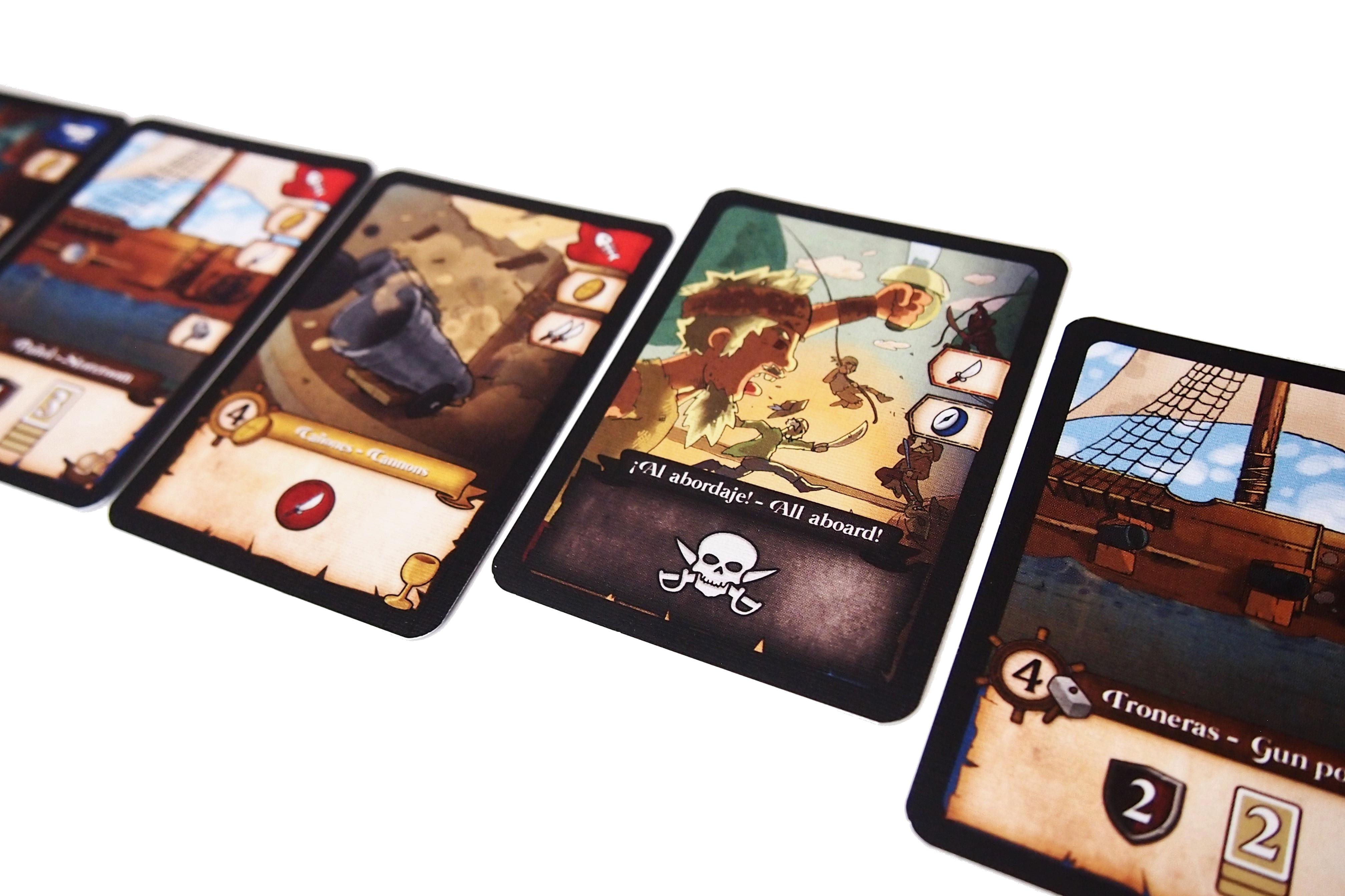Un turno también puede finalizar con un abordaje, descartando todas las cartas.