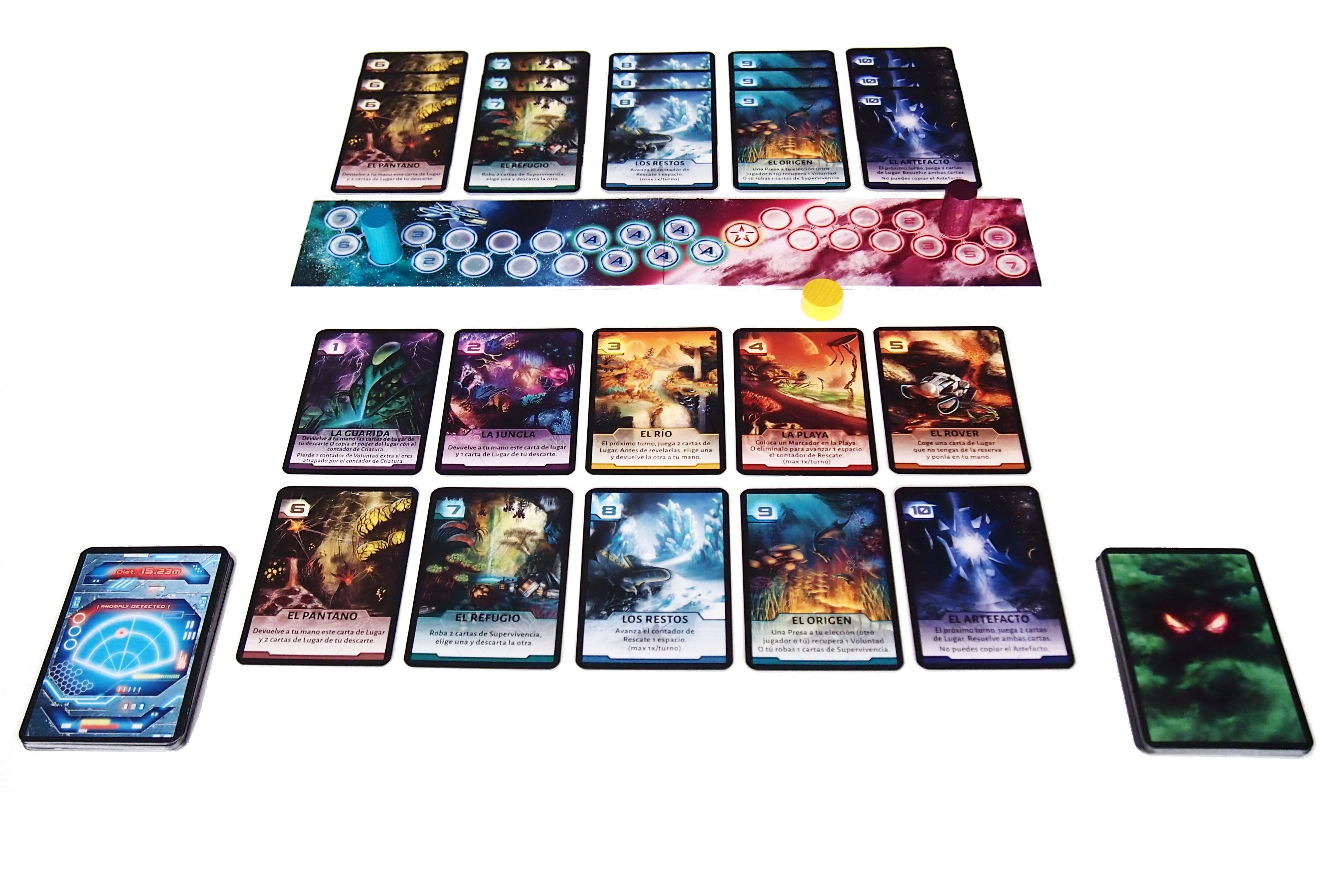 Disposición de los elementos antes de comenzar la competición (partida para tres jugadores).